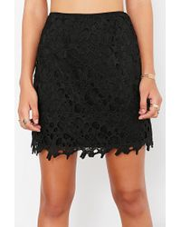 Kimchi Blue | Black Crochet Fitted Mini Skirt | Lyst