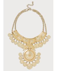 Bebe | Metallic Coin Medallion Bib Necklace | Lyst