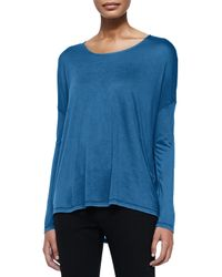 Vince - Blue Long-Sleeve Tee W/ Dropped Shoulders - Lyst
