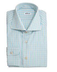 Kiton - Blue Plaid Woven Dress Shirt for Men - Lyst