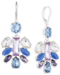Nine West | Blue Silver-tone Pastel Stone Chandelier Earrings | Lyst