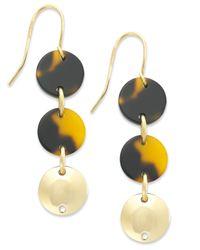 Lauren by Ralph Lauren - Multicolor Gold-Tone Tortoise Disc Triple Drop Earrings - Lyst