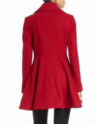 Laundry by Shelli Segal | Red Double-breasted Fit-and-flare Peacoat | Lyst