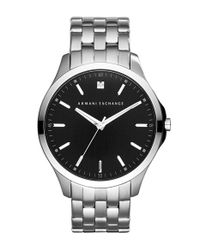 Armani Exchange - Metallic Diamond Marker Bracelet Watch for Men - Lyst