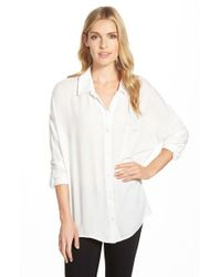 Bobeau | White Oversized Roll Sleeve One Pocket Shirt | Lyst