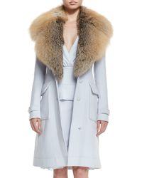 Altuzarra - Blue Fox-fur Collar Wool-blend Coat - Lyst