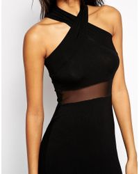 ASOS | Black Cross Front Halter Mesh Maxi Dress | Lyst