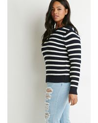 Forever 21 | Blue Plus Size Striped Waffle Knit Sweater | Lyst