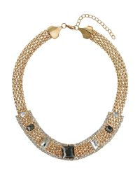Mikey | Metallic Thick Flat Chain With Stones Necklace | Lyst