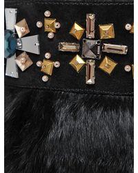 Tory Burch   Black 'curran' Crystal Bead Trim Rabbit Fur Suede Boots   Lyst