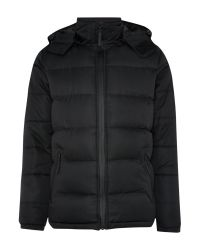 Bellfield | Black Padded Full Zip Hooded Bomber Jacket for Men | Lyst