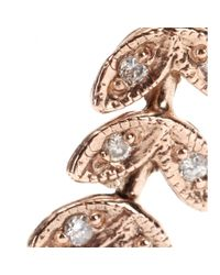 Jacquie Aiche - Metallic 14kt Gold Large Leaf Earrings with White Diamonds - Lyst