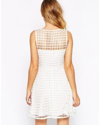 StyleStalker - White Paino Perforated Flare Dress With Gathered Skirt - Lyst