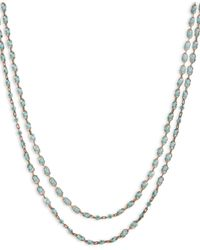 Lucky Brand - Metallic Gold-tone Turquoise Stone Two-row Strand Necklace - Lyst