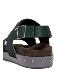 Lanvin - Green Calf Hair Double Strap Sandals - Lyst