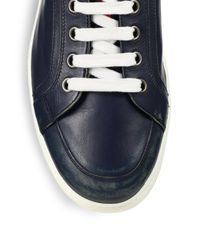 Prada - Blue Leather Laceup Sneakers for Men - Lyst
