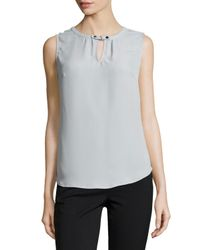 Laundry by Shelli Segal | Natural Sleeveless Keyhole-front Top | Lyst