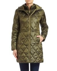MICHAEL Michael Kors | Green Hooded Diamond-quilted Coat | Lyst