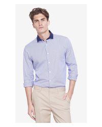 Express - Blue Modern Fit Striped Contrast Collar Shirt for Men - Lyst