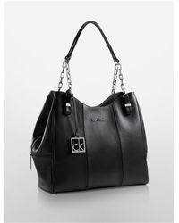 Calvin Klein | Black White Label Caitlin Center Zip Hobo | Lyst