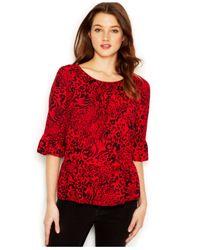 Kensie | Red Animal-Swirl Printed Top | Lyst