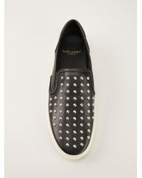 Saint Laurent - Black Studded 'Skate' Sneakers - Lyst