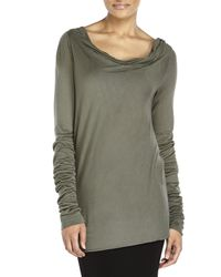 Rick Owens - Gray Cowl Neck Knit Top - Lyst