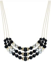 INC International Concepts - Black Gold-tone Jet Bead Three-row Frontal Necklace - Lyst
