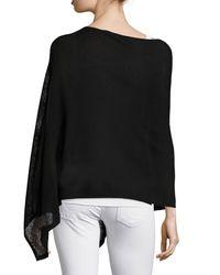 Eileen Fisher   Black Washable Wool-stitch Poncho   Lyst