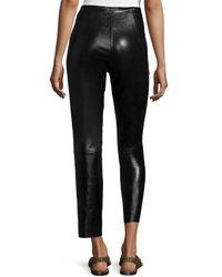 Isabel Marant - Black Zip-Trimmed Leather Pants - Lyst