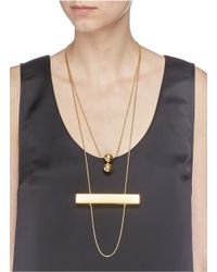Toga | Metallic Stick And Double Sphere Two Tier Necklace | Lyst