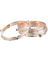 Guess - Metallic Six Piece Bangle Set With Stones - Lyst