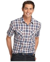 Izod | Blue Short-sleeve Plaid Poplin Shirt for Men | Lyst
