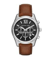 Michael Kors | Lexington Stainless Steel Brown Leather Strap Chronograph for Men | Lyst