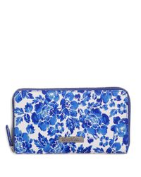 Brooks Brothers - Blue Full-zip Leather Flower Print Wallet - Lyst