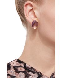 Bounkit | Multicolor Faceted Amethyst And Gray Pearl Drop Earrings | Lyst