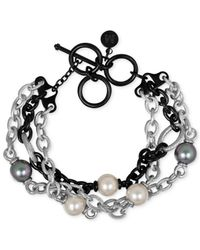Majorica - White Two-tone Chain And Man-made Pearl Four-row Bracelet (10mm) - Lyst