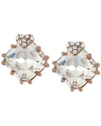 Betsey Johnson | Metallic Rose Gold-tone Heart And Square Crystal Stud Earrings | Lyst