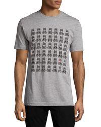 Psycho Bunny - Gray Logo-grid Pima Jersey Tee for Men - Lyst