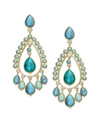 Lauren by Ralph Lauren - Blue 14k Goldtone Reconstituted Turquoise Chandelier Earrings - Lyst