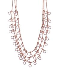 Anne Klein | Pink Rose Goldtone And Crystal Multi Row Necklace | Lyst