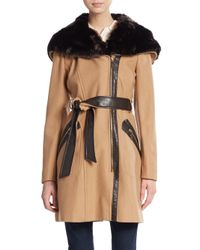Via Spiga | Natural Belted Faux Fur-trimmed Coat | Lyst