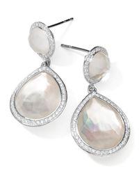 Ippolita | Metallic Stella 2-stone Drop Earrings In Mother-of-pearl Doublet With Diamonds | Lyst