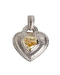 Judith Ripka - Metallic Canary Crystal And Diamond Heart Pendant - Lyst