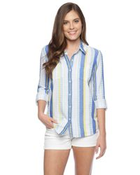 Splendid - Blue Capri Henley Shirt - Lyst