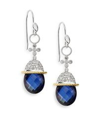 Jude Frances | Blue Quartz, White Sapphire & Two-Tone Drop Earrings | Lyst