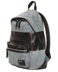 DIESEL - Gray Denim Backpack With Coated Stripe for Men - Lyst