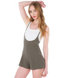 Akira Black Label - Green At The Surface Romper - Olive - Lyst