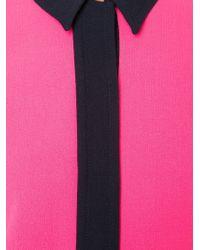 Victoria, Victoria Beckham - Pink Colour Block Shirt Dress - Lyst