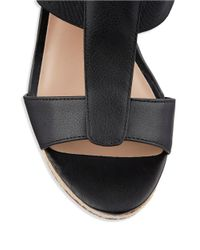 Charles by Charles David | Black Alto Leather Platform Wedge Sandals | Lyst
